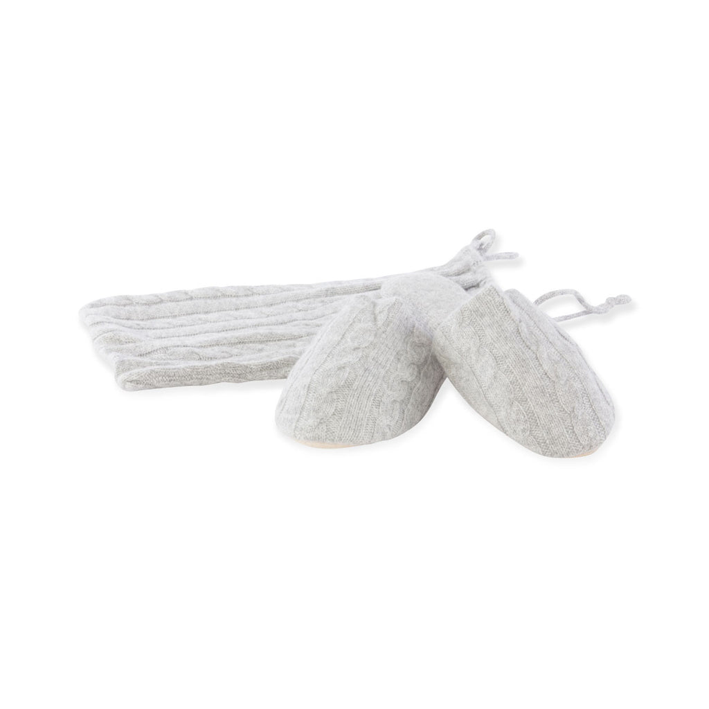 Cashmere knit slippers Grey