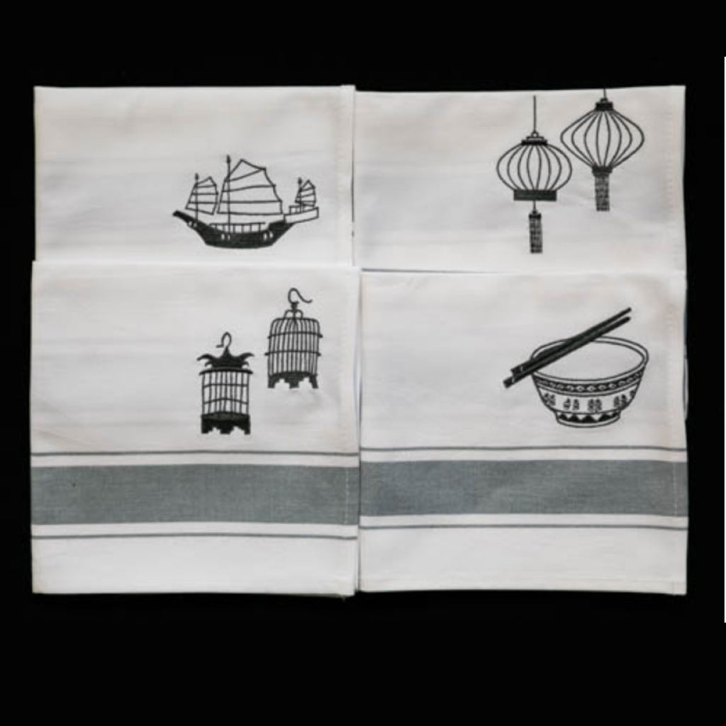 Zest of Asia Grey Hong Kong Design Napkins s/4