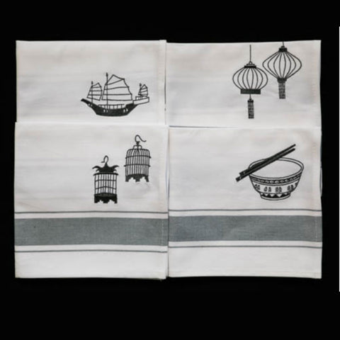 Grey Hong Kong Design Napkins s/4