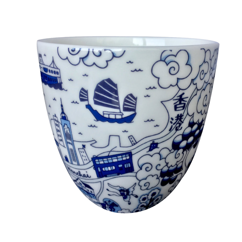 Faux Willow Series HK Chinese Tea Cup Blue set/2
