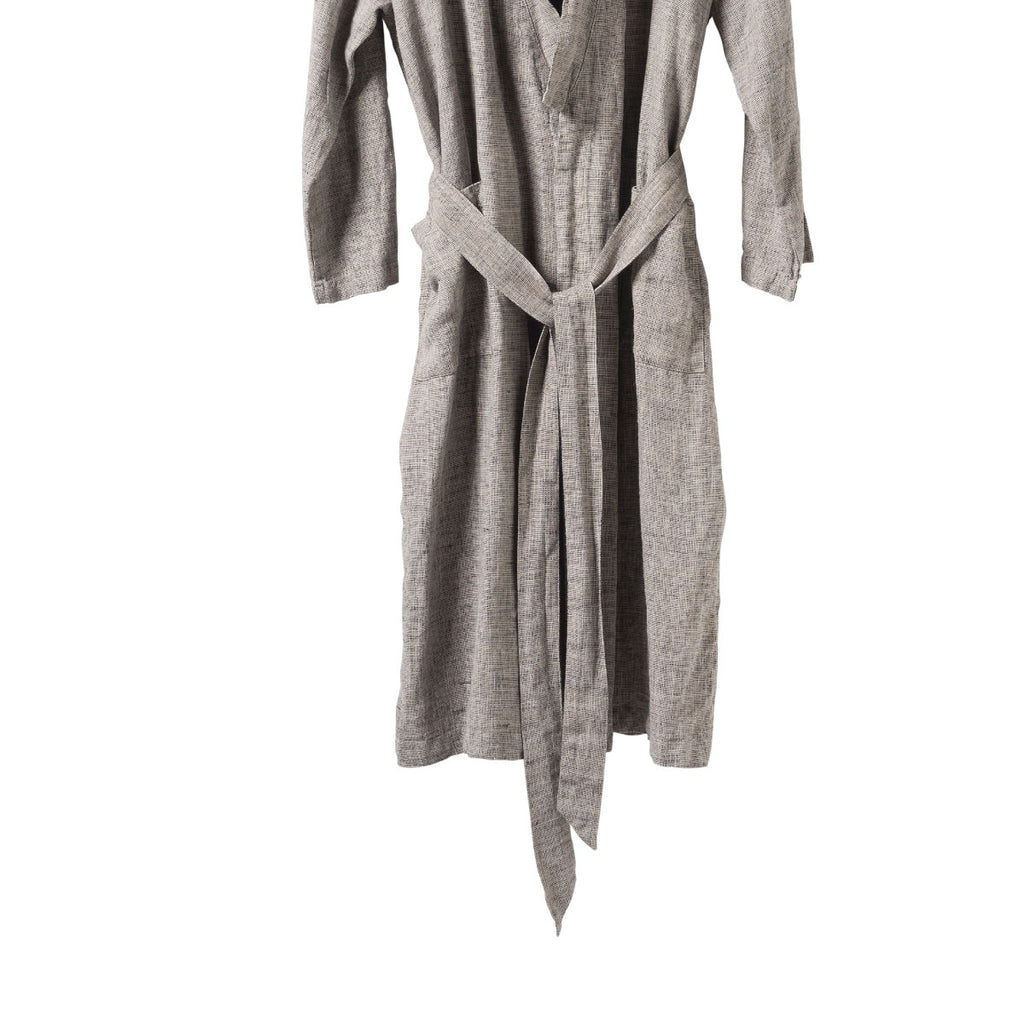 Men's Linen Blk/Nat Dressing Gown - Citta Design, INSIDE Hong Kong