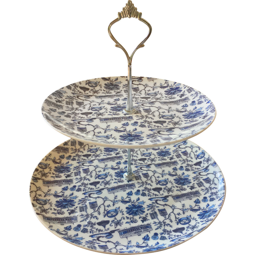 Faux Hong Kong Toile Series Cake Stand Blue