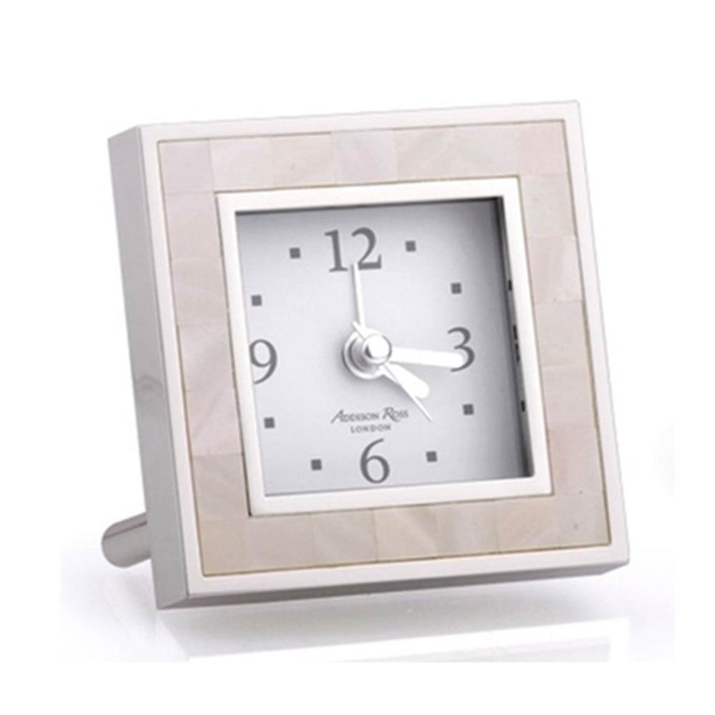 Addison Ross Mother of Pearl & Silver alarm clock