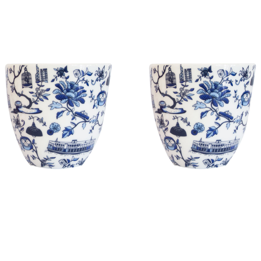 Faux Hong Kong Toile Series chinese Cup S/2