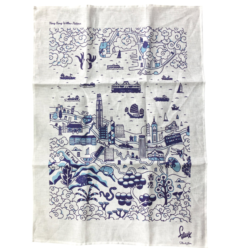 Willow Series HK  Tea Towel Blue