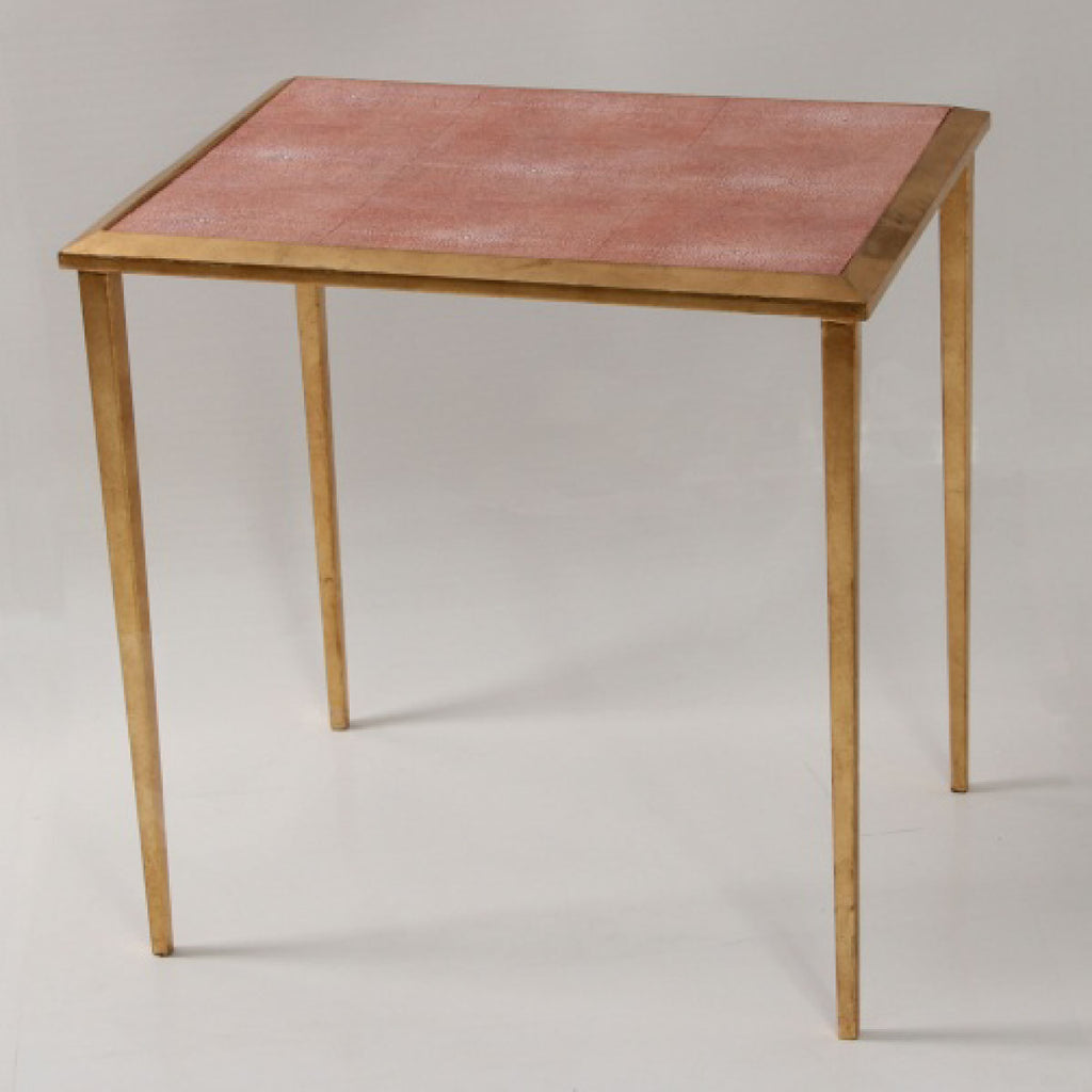 Faux Shagreen Serena Side Table in coral - INSIDE, INSIDE Hong Kong