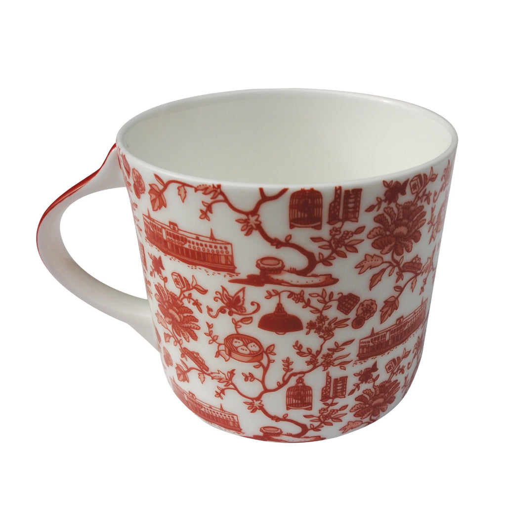 Faux Hong Kong Toile Series Mug Red