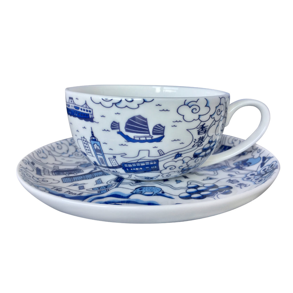 Faux Willow Series HK  Cup & Saucer set Blue - Faux, INSIDE Hong Kong