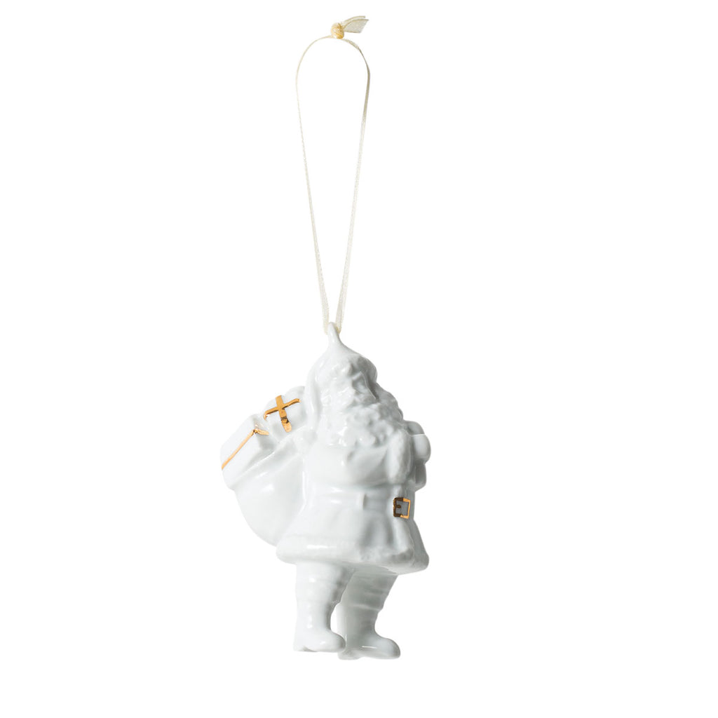 Glazed Porcelain Santa W/Sack White/Gold