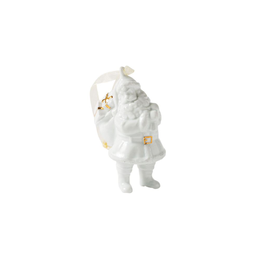 Glazed Porcelain Santa W/Sack White/Gold - Citta Design, INSIDE Hong Kong