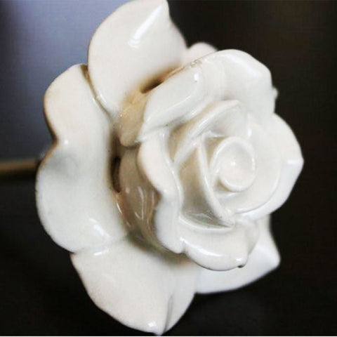 Door Knob Ceramic Rose White