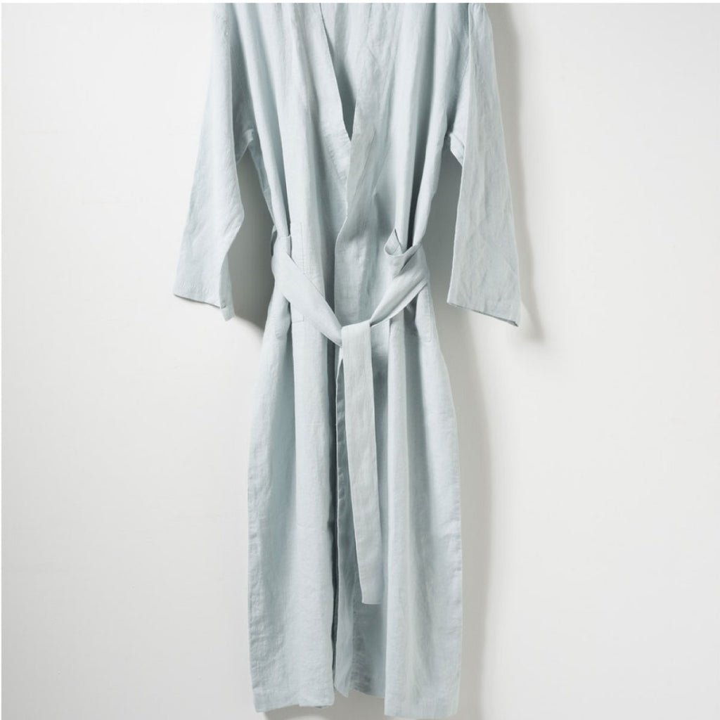 Bella Women's Linen Dress Gown Duck Egg - Citta Design, INSIDE Hong Kong