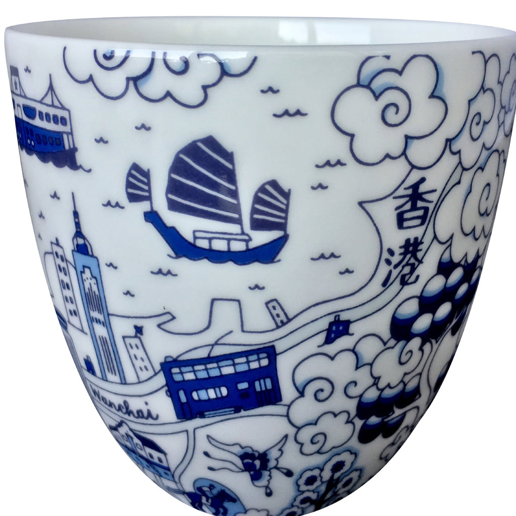 Faux Willow Series HK Chinese Tea Cup Blue set/2 - Faux, INSIDE Hong Kong