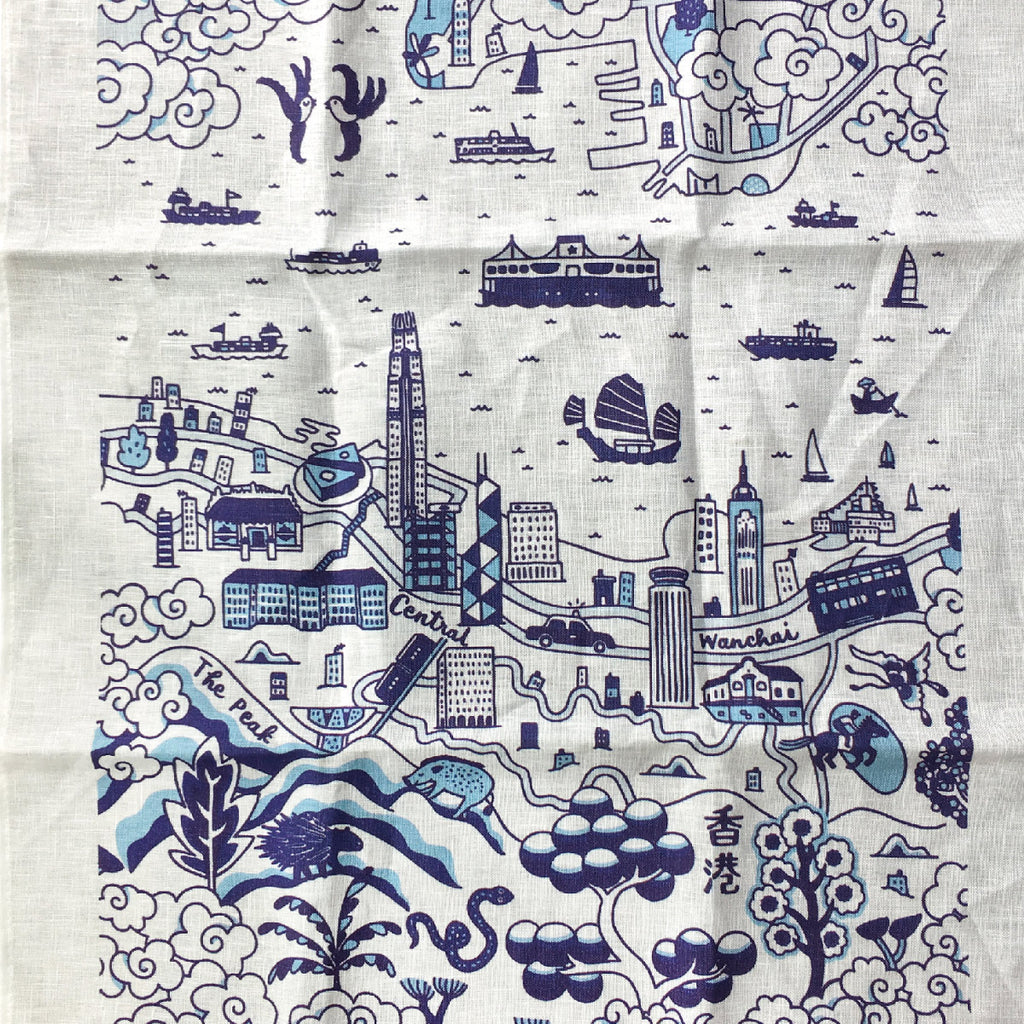 Faux Willow Series HK  Tea Towel Blue