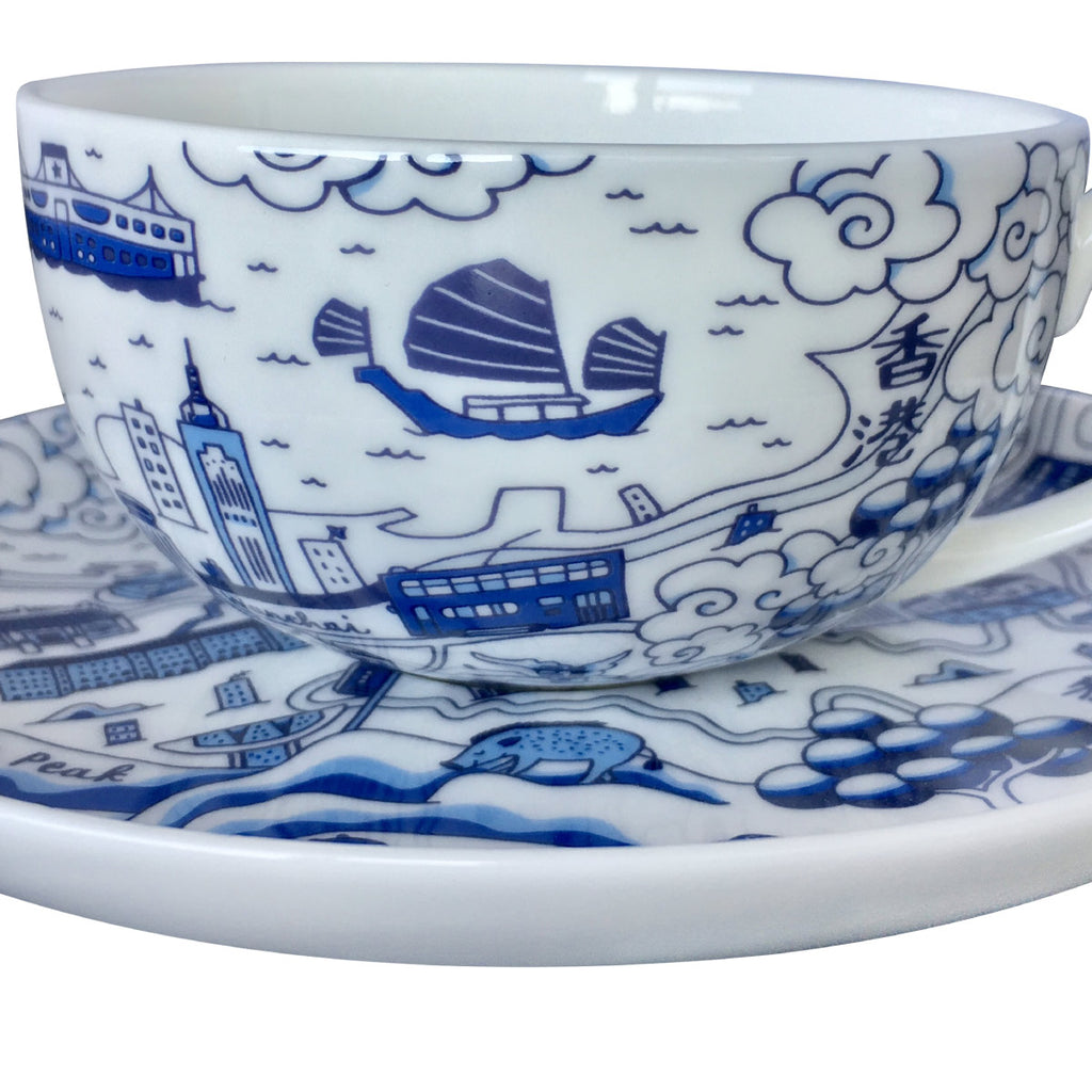 Faux Willow Series HK  Cup & Saucer set Blue