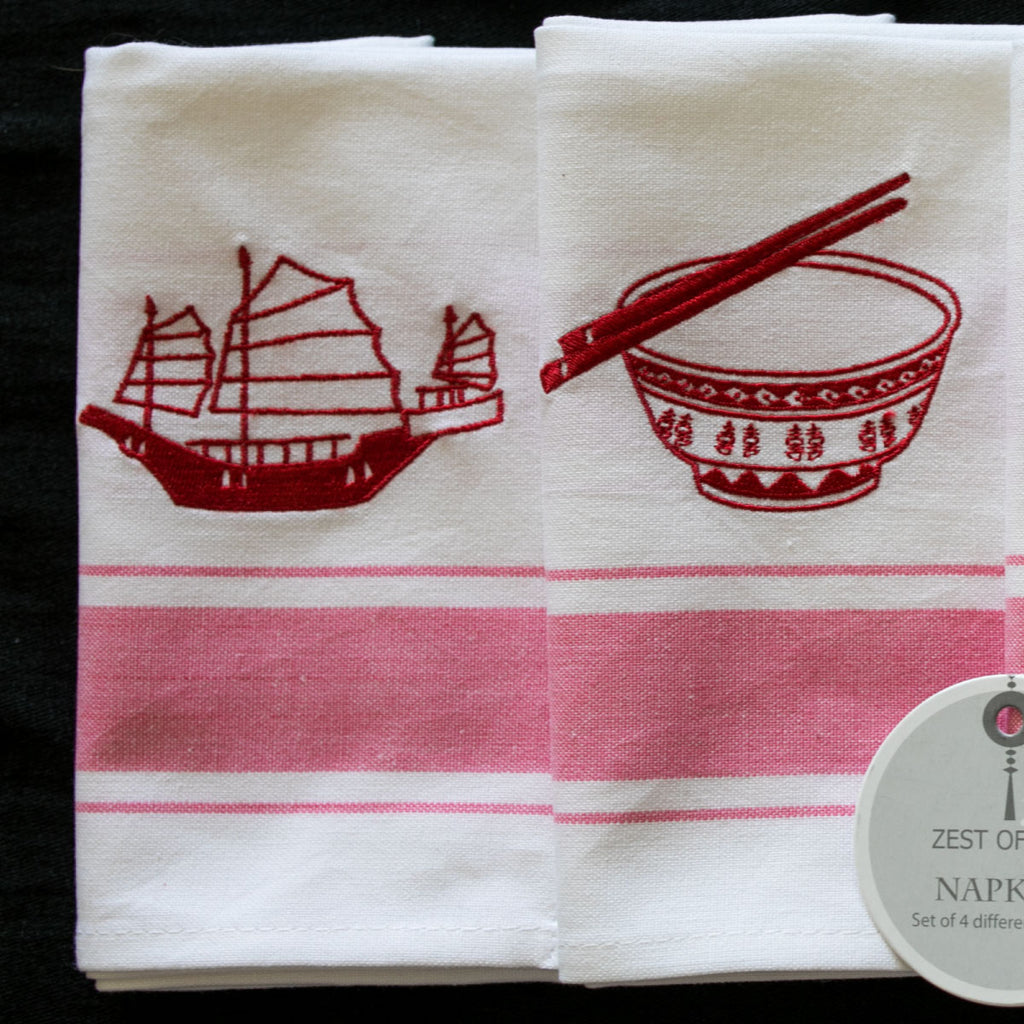 Zest of Asia Red Hong Kong Design Napkins s/4