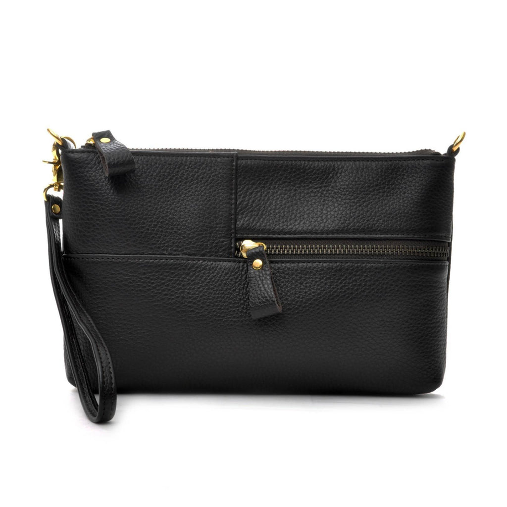 Ceannis Envelope Bag Black Grained Leather