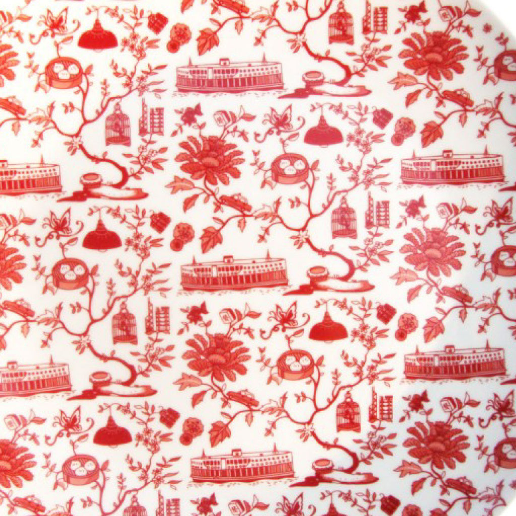 Faux Hong Kong Toile Series Plate Red