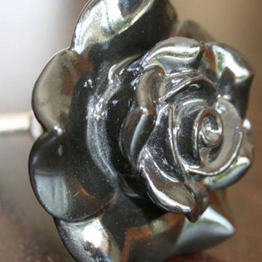 Door Knob Ceramic Rose Black