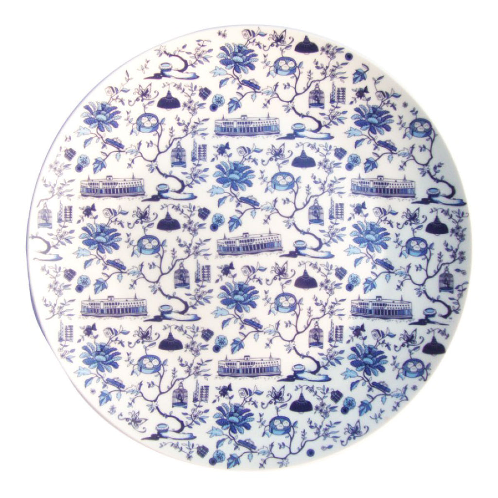 Hong Kong Toile Series Plate Blue