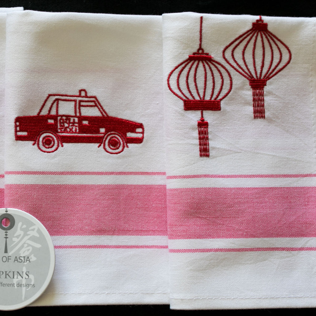 Red Hong Kong Design Napkins s/4