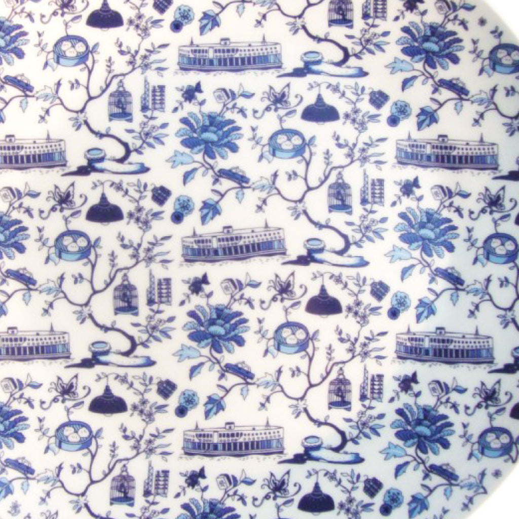 Faux Hong Kong Toile Series Plate Blue