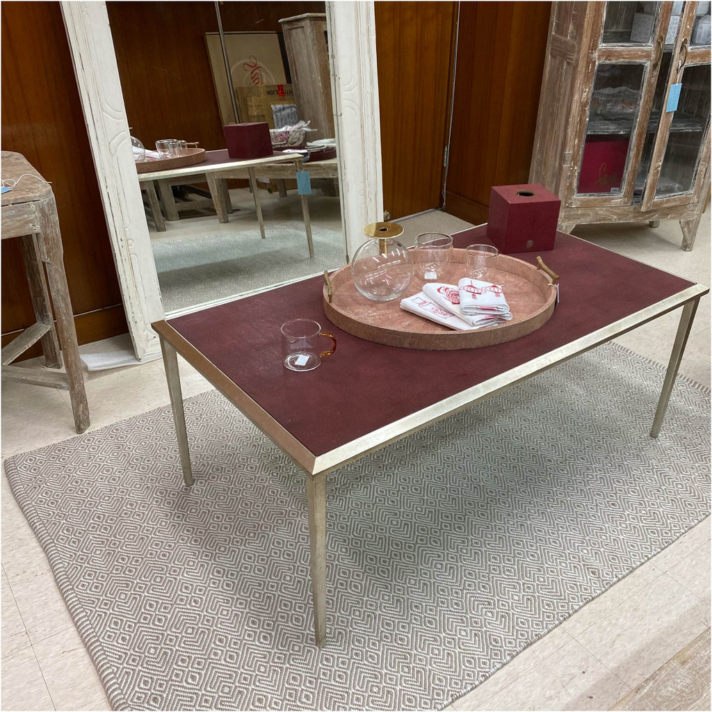 Faux Shagreen Coffee Table Red and Silver