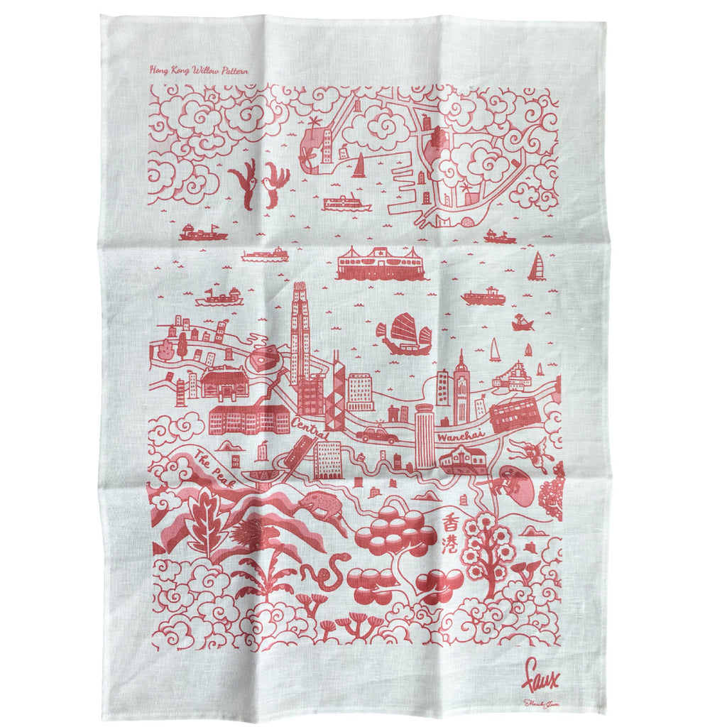 Willow Series HK  Tea Towel Red