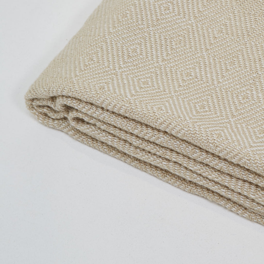 Weaver Green Diamond Blanket Linen / White