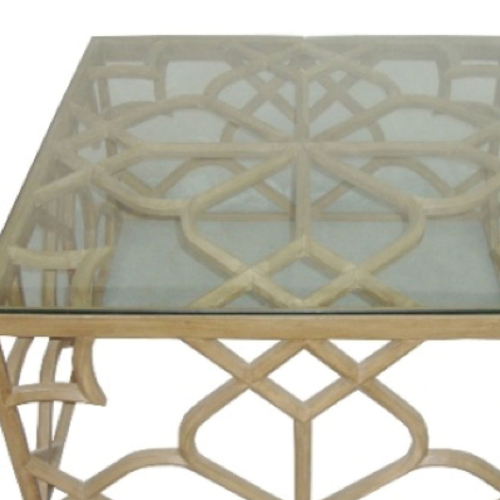 Coffee Table With Glass On Top Natural White Wash