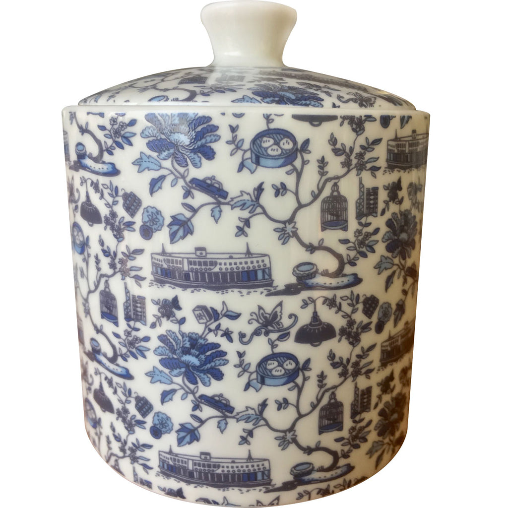 Hong Kong Toile Series Sugar Bowl W/Lid Blue