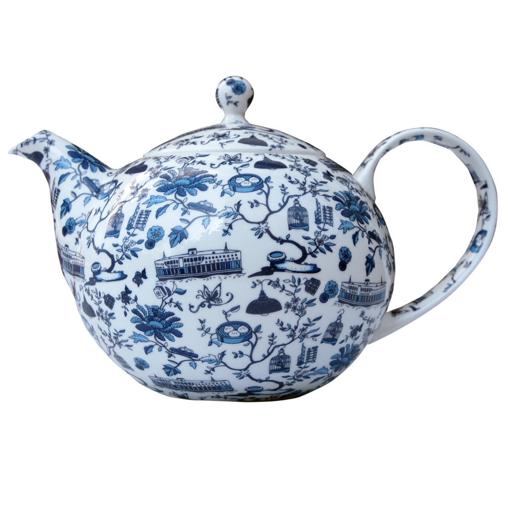 Faux Hong Kong Toile Series Tea Pot Blue
