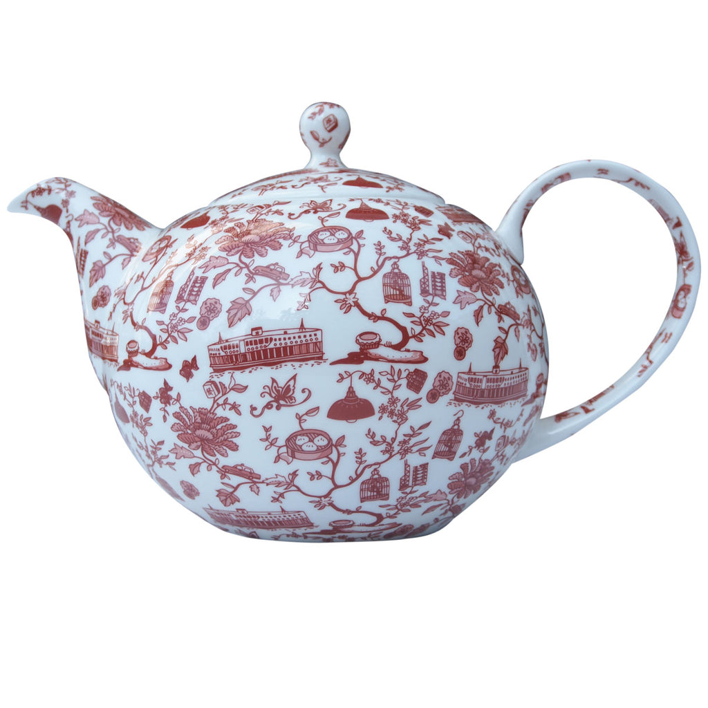 Faux Hong Kong Toile Series Tea Pot Red