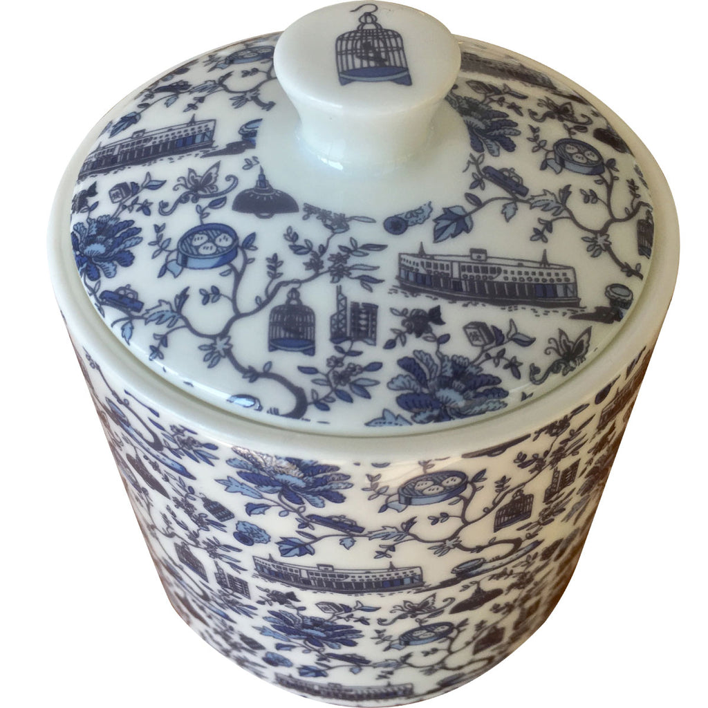 Faux Hong Kong Toile Series Sugar Bowl W/Lid Blue