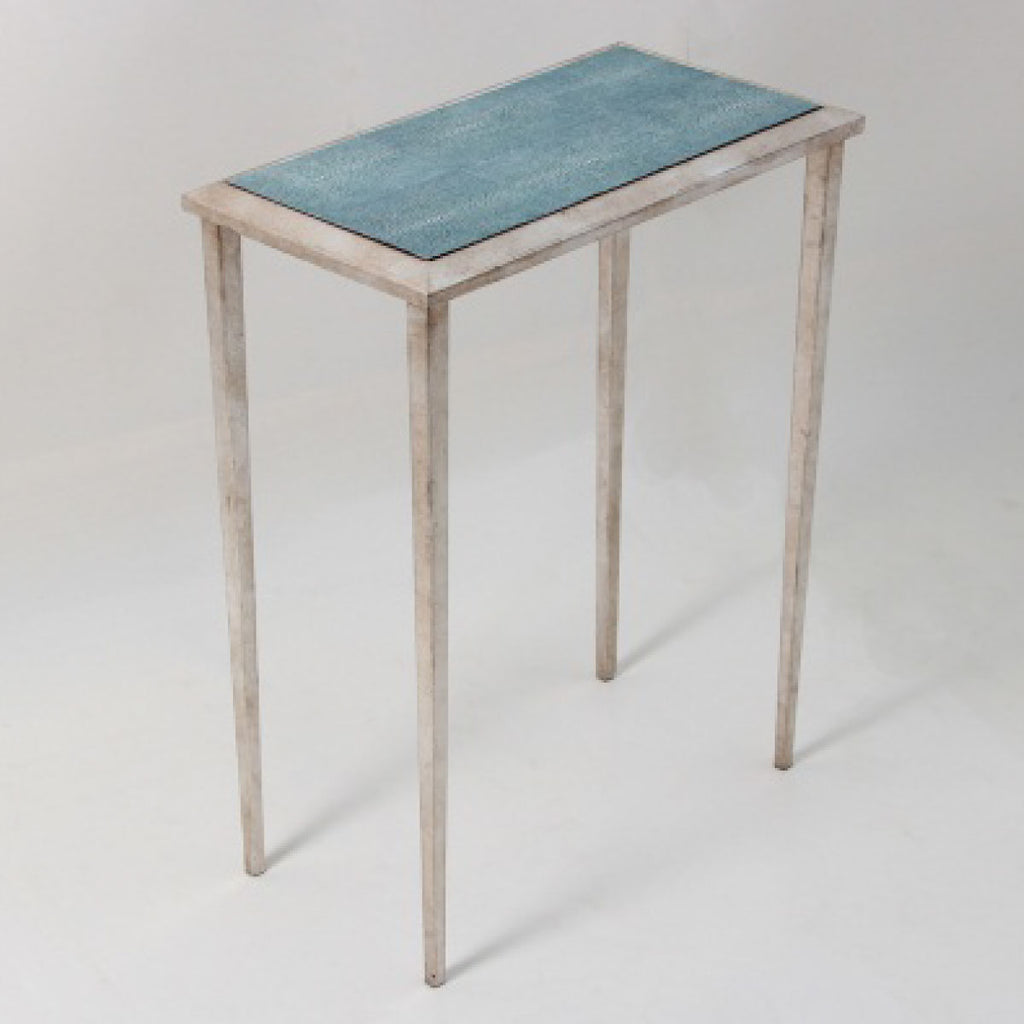 Faux Shagreen Lamp Table in Turquoise
