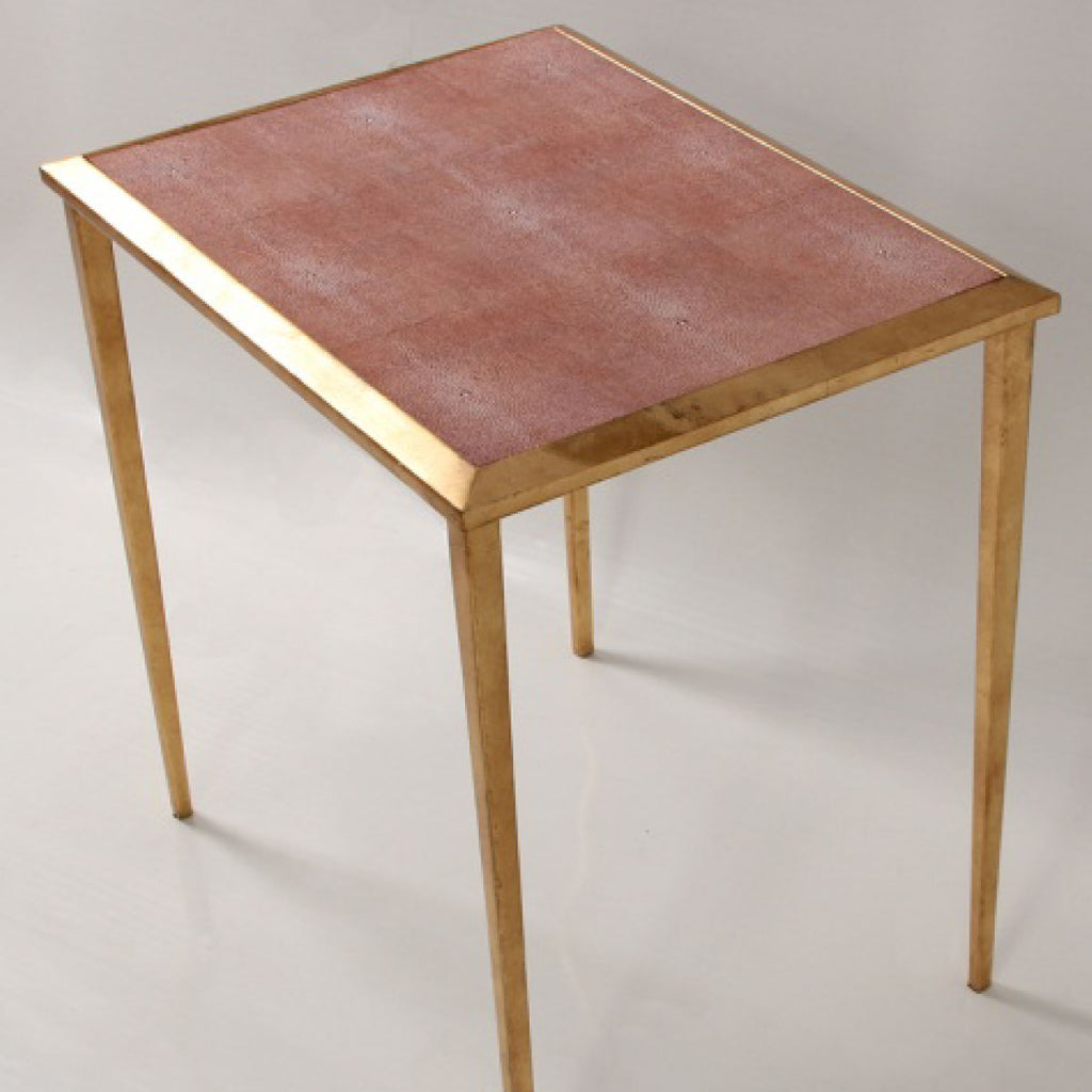 Faux Shagreen Serena Side Table in coral