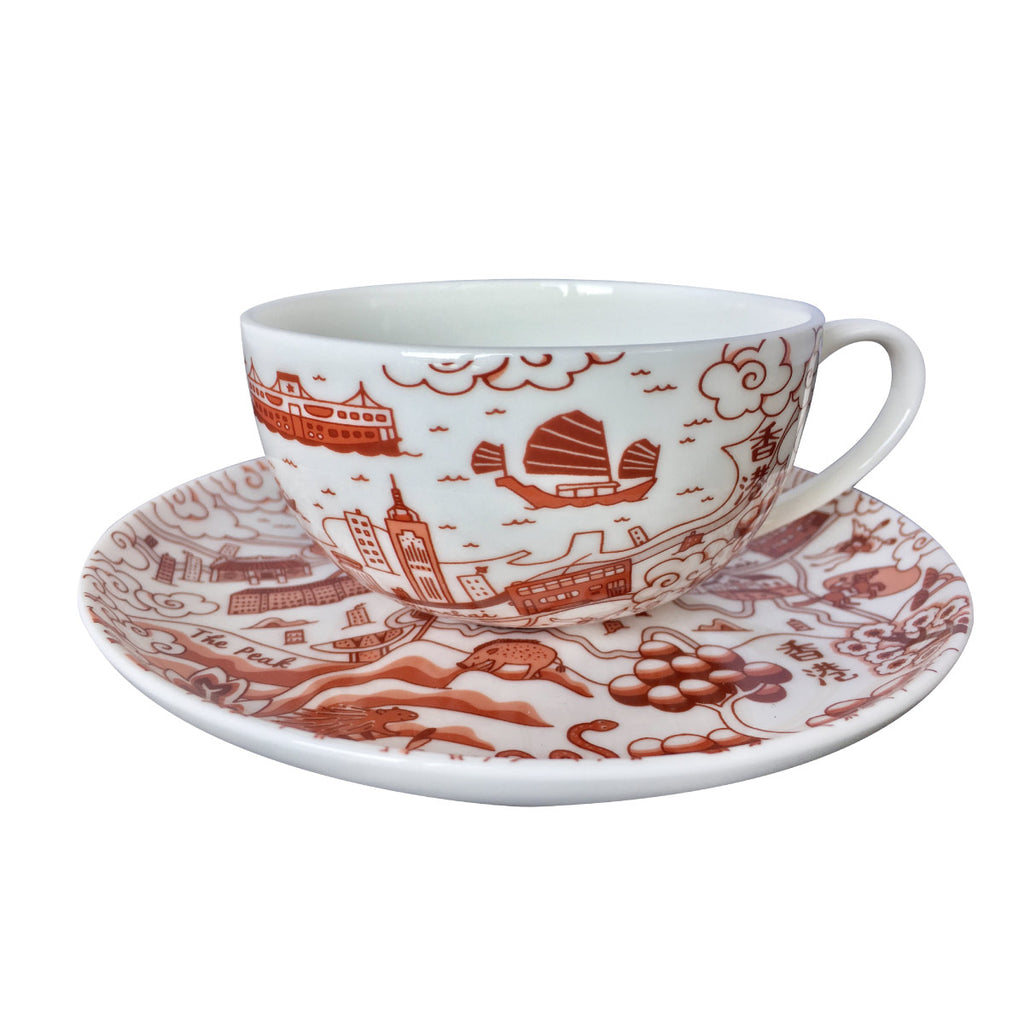 Faux Willow Series HK  Cup & Saucer in Red - Faux, INSIDE Hong Kong