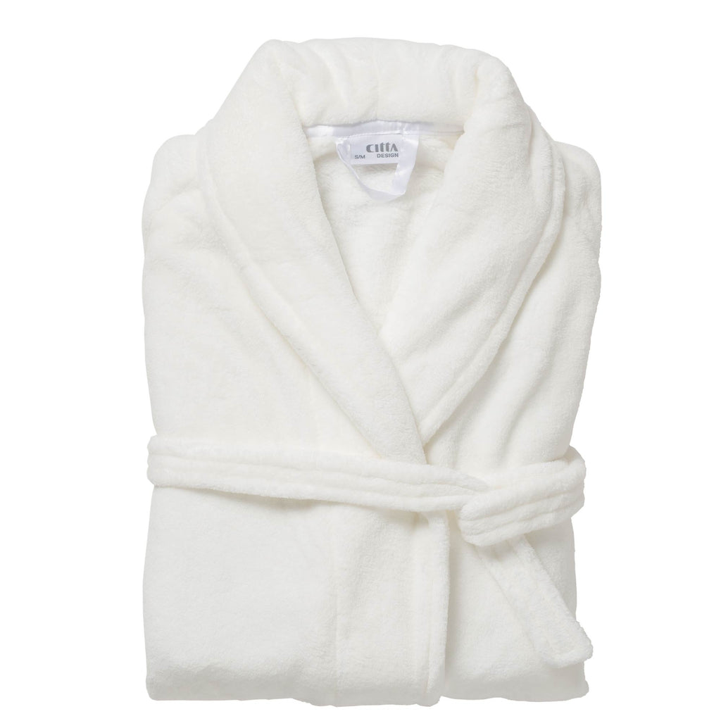 Plain Women's Velour Dressing Gown Light White