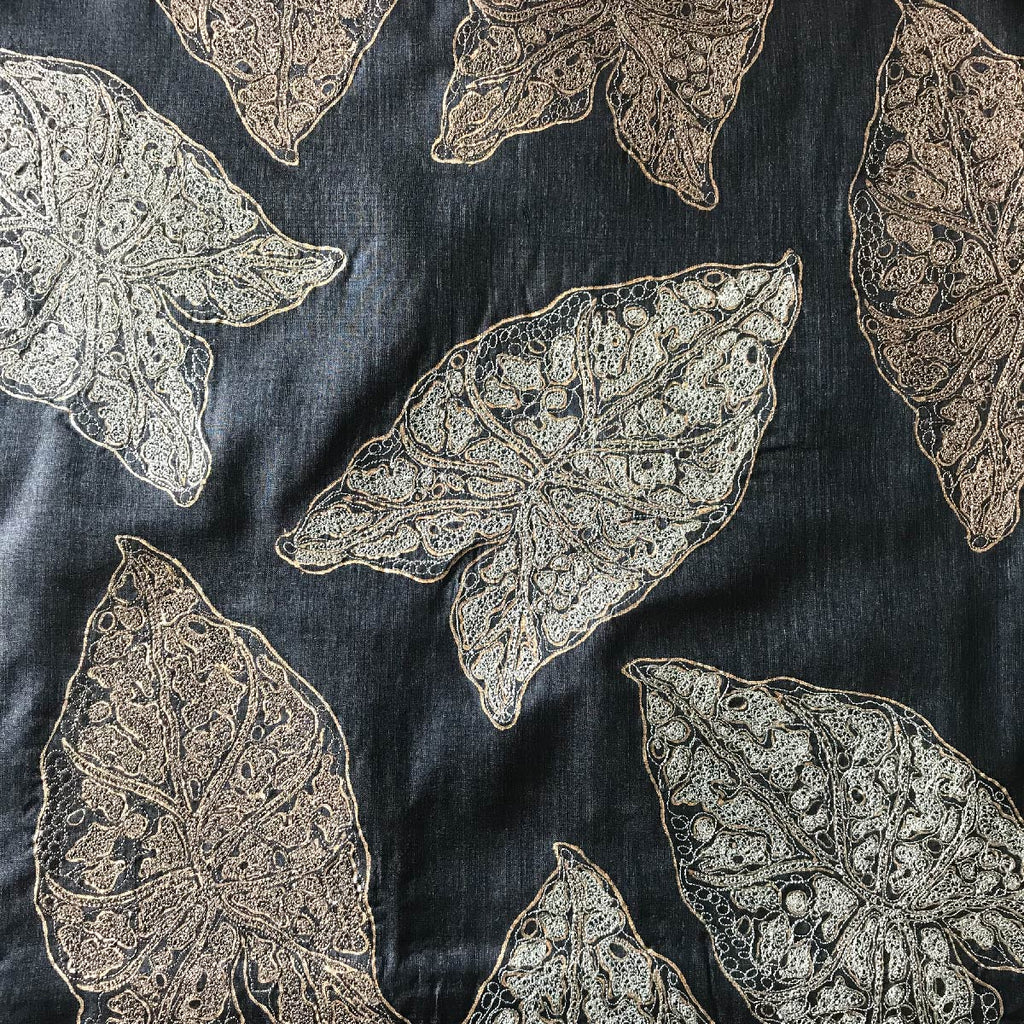 Cushion Black Grey Embroidered Spotted Leaf