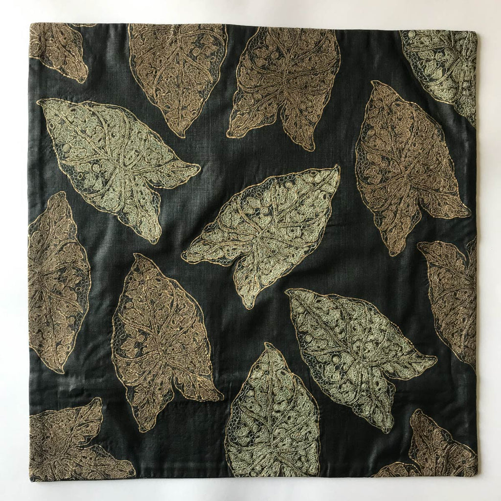 Rasa Jaipur Cushion Black Grey Embroidered Spotted Leaf - Rasa Jaipur, INSIDE Hong Kong