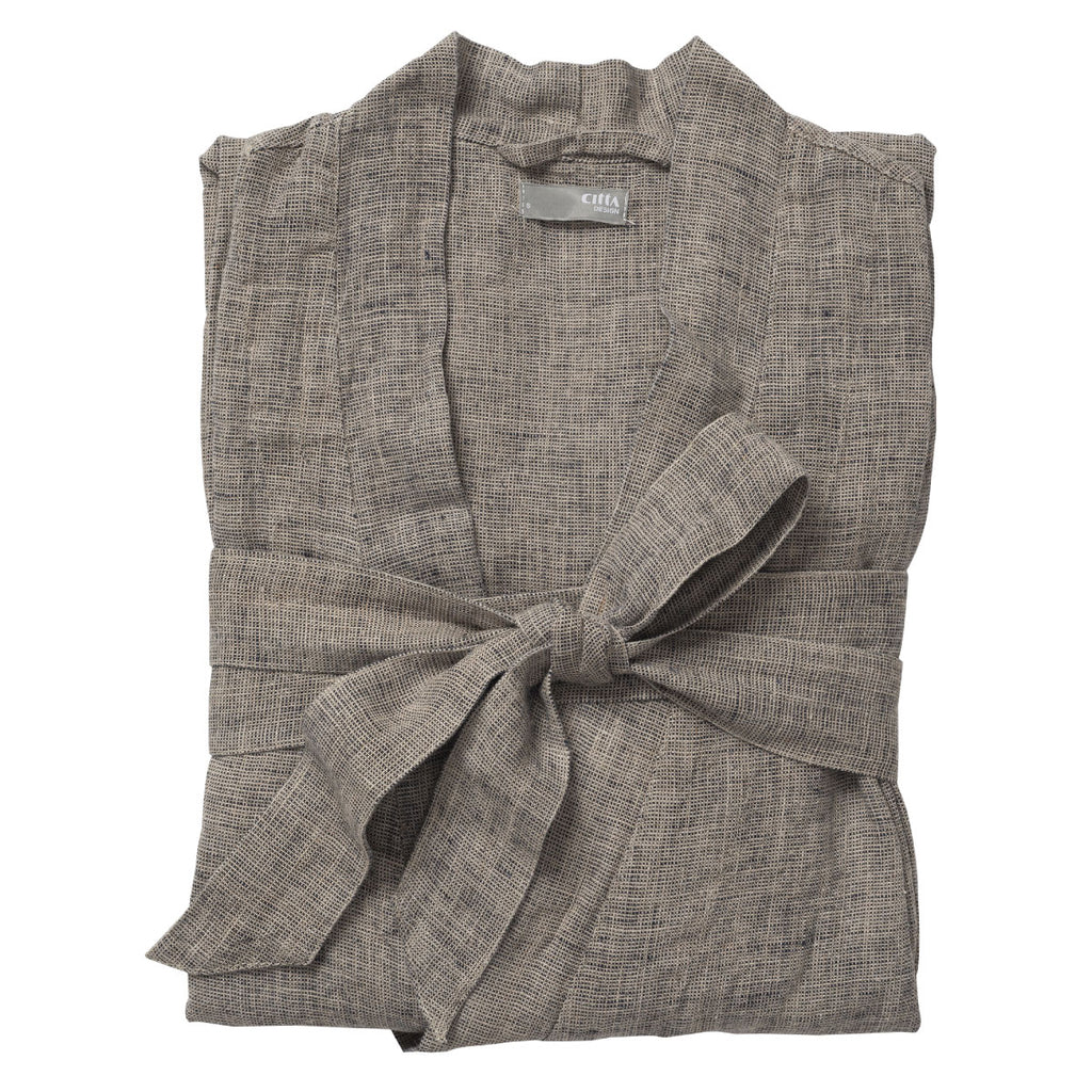 Men's Linen Blk/Nat Dressing Gown