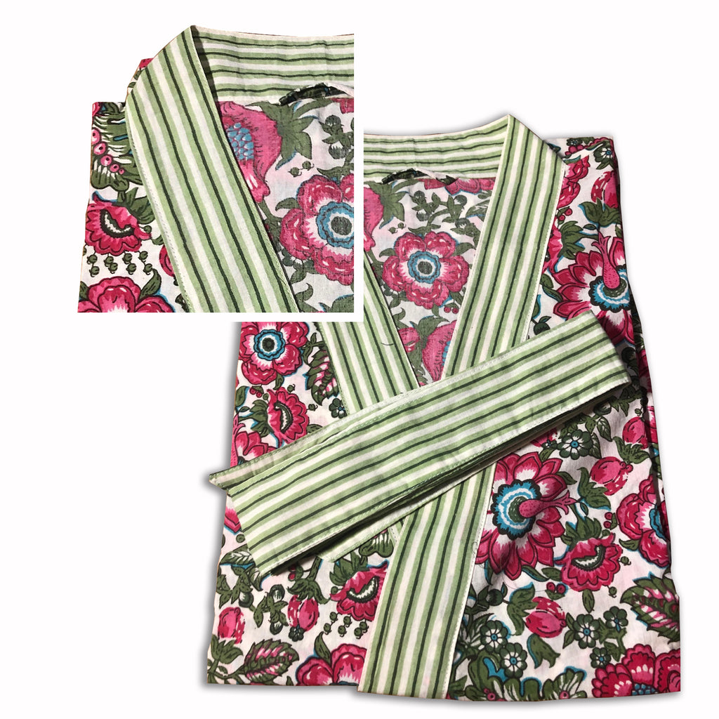 Robe short - Blockprinted Floral Fuchsia - Inside, INSIDE Hong Kong