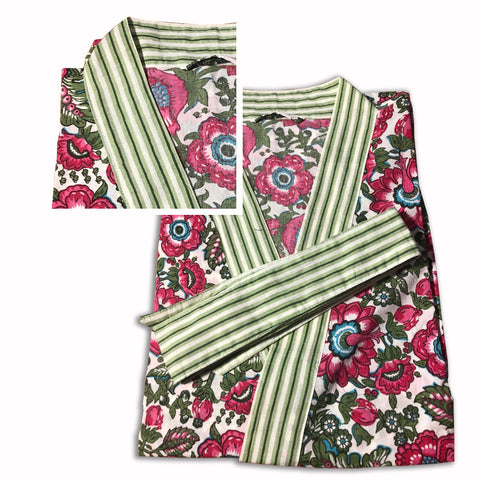 Robe short - Blockprinted Floral Fuchsia