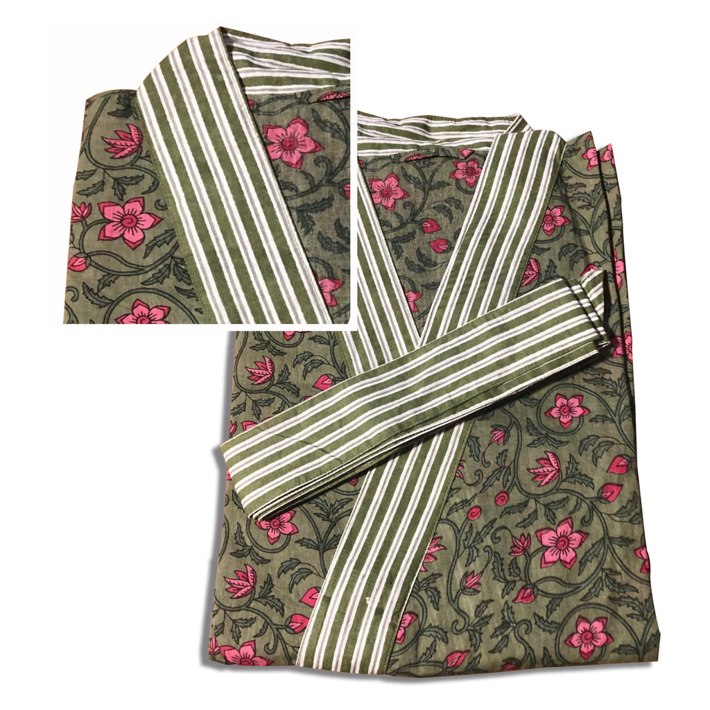 Robe short - Blockprinted Floral Sage Red - Inside, INSIDE Hong Kong