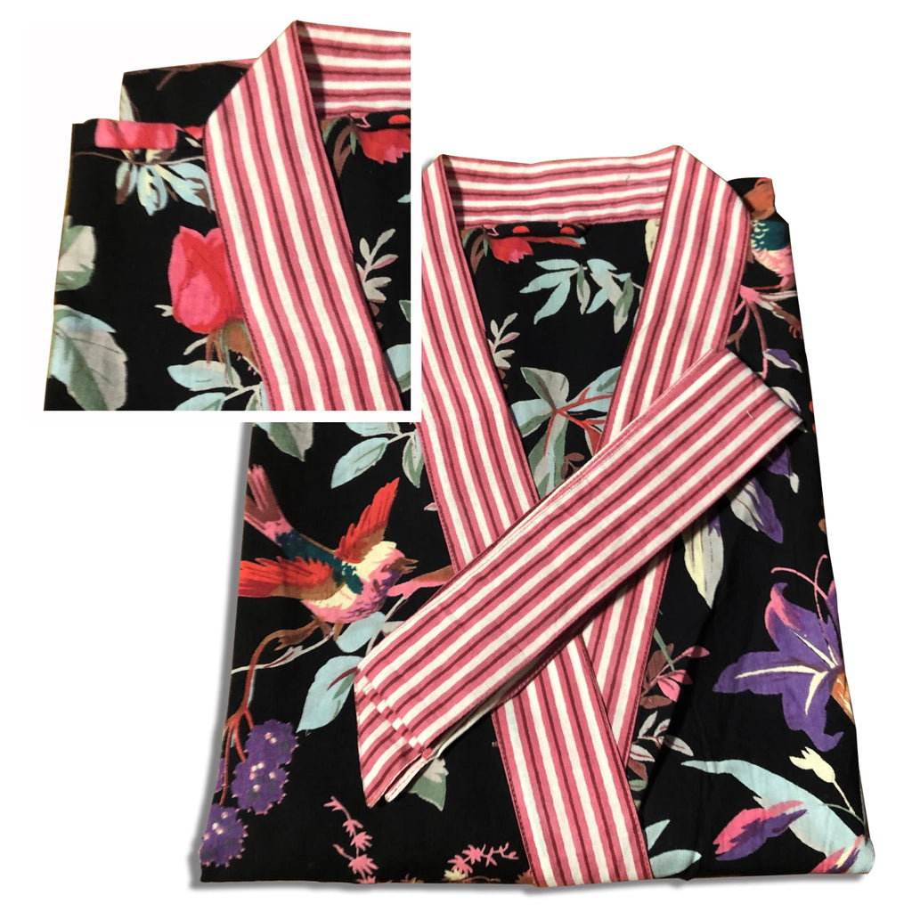Robe short - Blockprinted Tropical Bird Fuchsia Black - Inside, INSIDE Hong Kong