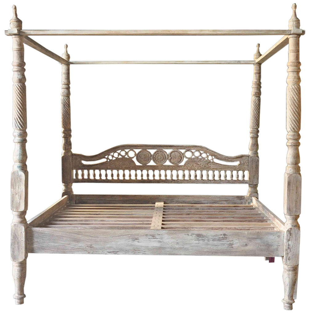 Four Poster White Wash Bed