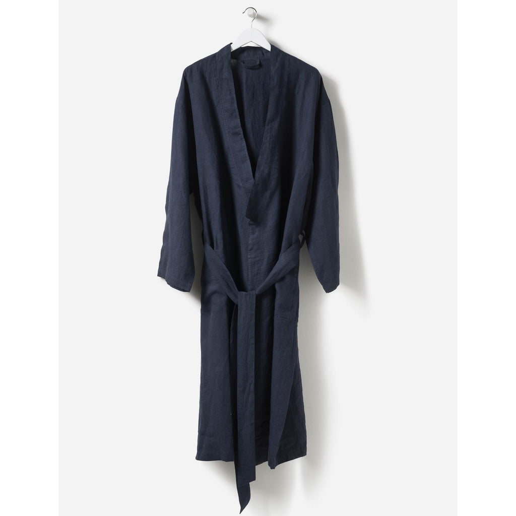 Beau Men's Linen Dressing Gown Navy - Citta Design, INSIDE Hong Kong