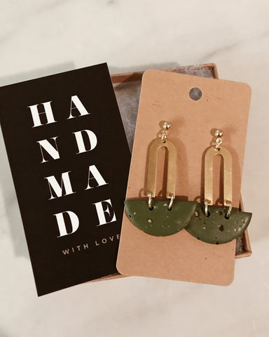 Hazel Earrings in Olive Green