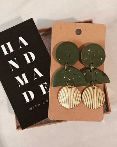 Ivy Earrings in Olive Green
