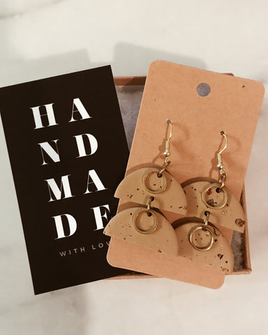 Saint Earrings in Tan